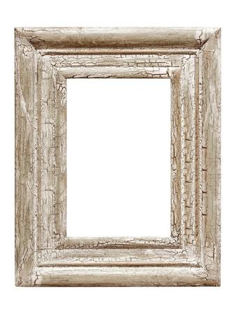 craquelure: Lamentando cuadro pintado marco, aisladas sobre fondo blanco. Grietas efecto.