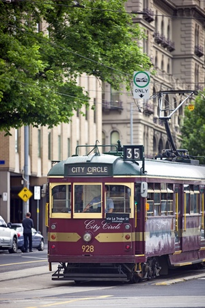 electric tram: Melbourne, Australia - November 14, 2011: Traditional old Melbourne tram, used for free tourist transport around the city. Editorial