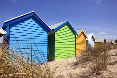 Beach boxes at Brighton Beach, Melbourne, Australia.   photo