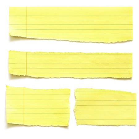 lined: Torn yellow paper, isolated on white with soft shadow.