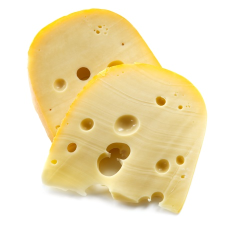 Swiss cheese, isolated on white background. photo
