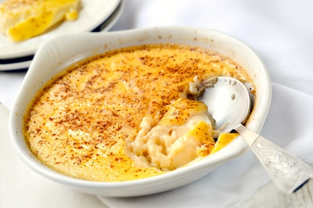 custard: Delicious baked egg custard, topped with nutmeg.  A healthy, homely dessert.