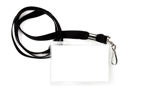 id: Blank pass or ID tag on a black lanyard, isolated on white.