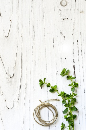 wood stain: Thyme and string over rustic distressed timber background.  Lots of copy space.