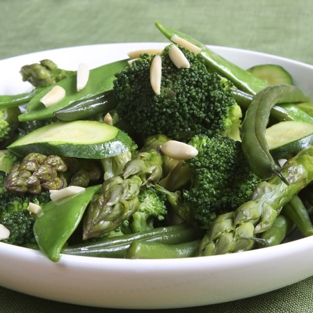 tout: Sauteed green vegetables, topped with almonds.  Delicious, nutritious eating.