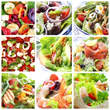 caprese: Collage of healthy salads.  Includes caprese, Greek, Waldorf, shrimp, smoked salmon, Nicoise, chicken, and garden salads.