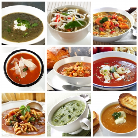 Collage of different soups.  Includes lentil, Asian noodle, vegetable, tomato, minestrone, broccoli, and pumpkin. photo
