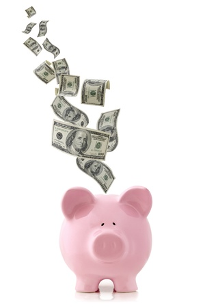 US currency falling into a pink piggy bank, isolated on white.