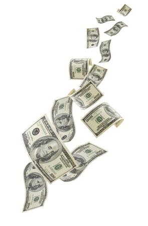 법안: 흰색 배경에 고립 된 미국 100 달러 지폐를 떨어지는. 스톡 사진