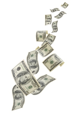 Falling US one hundred dollar bills, isolated on white background.