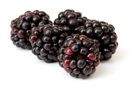 brambleberry: Blackberries over white background.  Delicious berry fruit goodness. Stock Photo