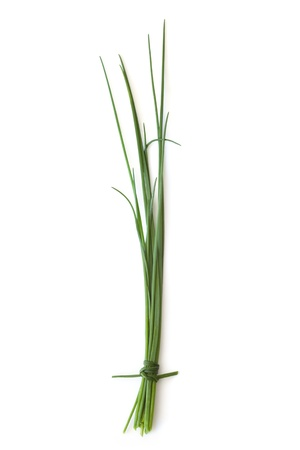 Fresh-picked chives, isolated on white background with soft shadow.