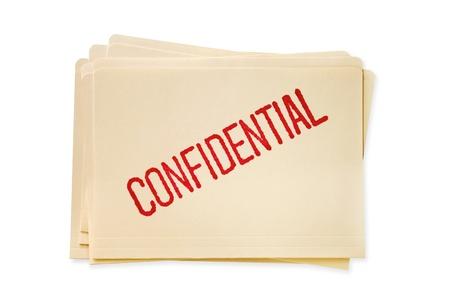 개인 정보 보호: 마닐라 파일 폴더의 스택, 기밀 스탬프. 스톡 사진