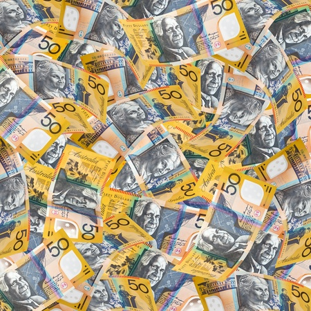 Australian fifty dollar notes make a full-frame wallpaper