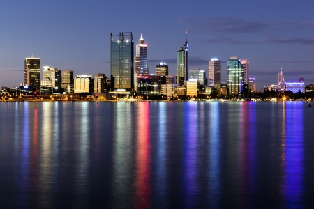 perth: Perth, Western Australia, viewed at night reflected in the Swan River  Stock Photo