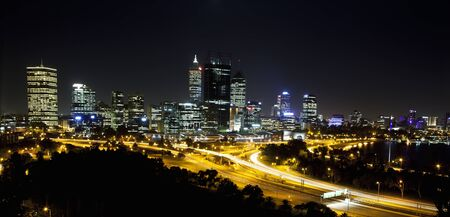 perth: Perth, Western Australia, viewed at night from King Stock Photo