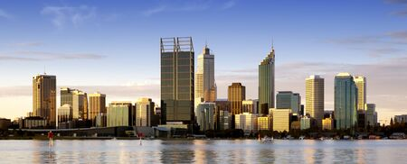 perth: Perth, Western Australia, at dusk, with Swan River in foreground  Stock Photo
