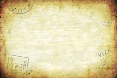 útlevél: Grunge, háttér, útlevéllel vízum bélyeget sok példány tér