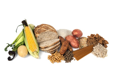 fibre: Food sources of complex carbohydrates, isolated on white background    Stock Photo