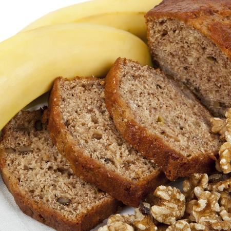 eating banana: Fresh banana and walnut bread loaf, sliced   Delicious healthy eating