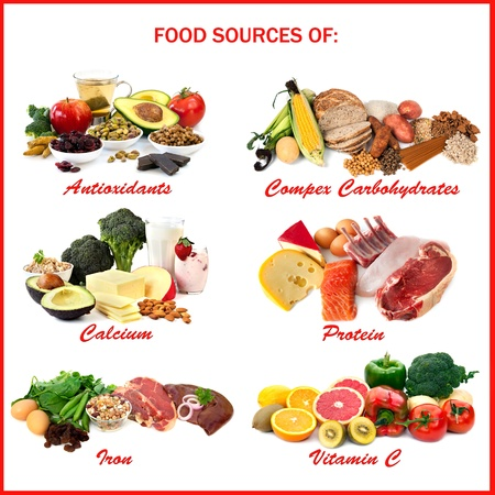 and vitamin: Chart showing food sources of various nutrients, each isolated on white. Includes antioxidants, complex carbohydrates, calcium, protein, iron and vitamin C.