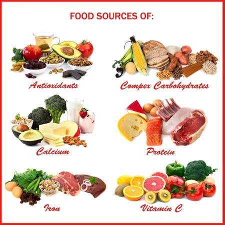 vitamina a: Gr�fico que muestra las fuentes de alimentos de diversos nutrientes, cada uno aislado en blanco. Incluye antioxidantes, carbohidratos complejos, calcio, prote�nas, hierro y vitamina C. Foto de archivo
