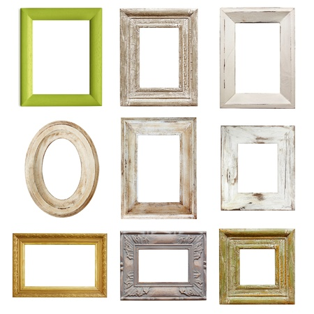 photo montage: Collection of shabby chic distressed picture frames, isolated.