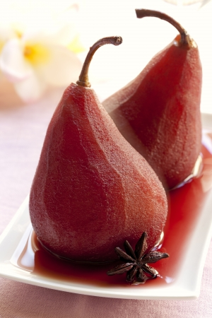 pear: Pears poached in red wine, with star anise.  Delicious beurre bosc variety.