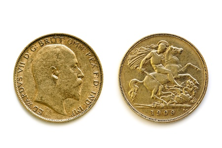 british: English sovereign coin showing front and back views, isolated on white