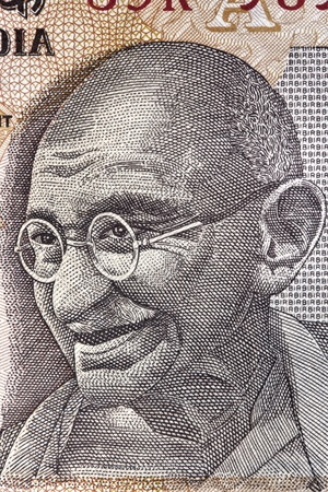 Portrait of Mahatma Gandhi on an Indian ten rupee note   Great detail  photo