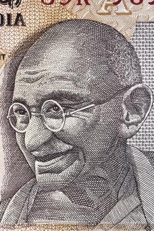 Portrait of Mahatma Gandhi on an Indian ten rupee note   Great detail  photo