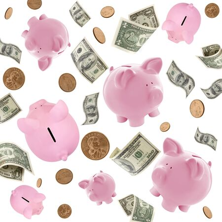 Piggy banks and American money flying over white background.   photo