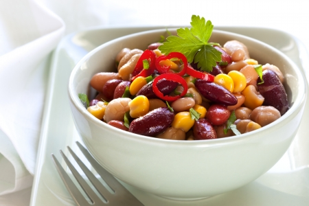 kidney beans: Three bean and corn salad with chili   Delicious vegetarian eating