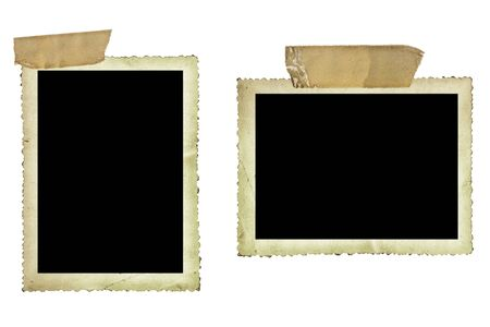 adhesive tape: Vintage photo borders fastened with old sticky tape, isolated on white.