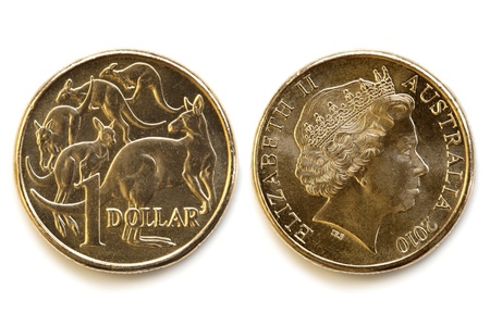Australian dollar coin, front and back, isolated on white background with soft shadow  photo