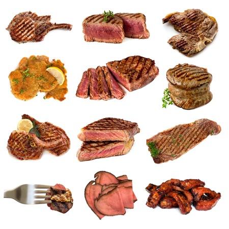 Colección de imágenes cárnicos cocidos, aislados en blanco Incluye carne de res y de cerdo, filetes, chuletas, filete mignon, milanesas, carne asada rara y costillas de cerdo
