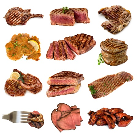 Collection of cooked meat images, isolated on white   Includes beef and pork, steak, cutlets, filet mignon, schnitzel, rare roast beef and spareribs  photo