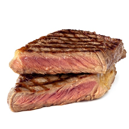 Grilled sirloin steak, cut in half, isolated on white  photo