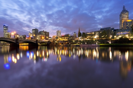 Melbourne, Australia, viewed over the Yarra River at dusk    photo