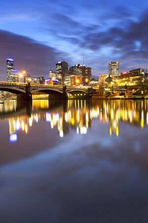 federation: Melbourne, Australia, viewed over the Yarra River at dusk  Stock Photo