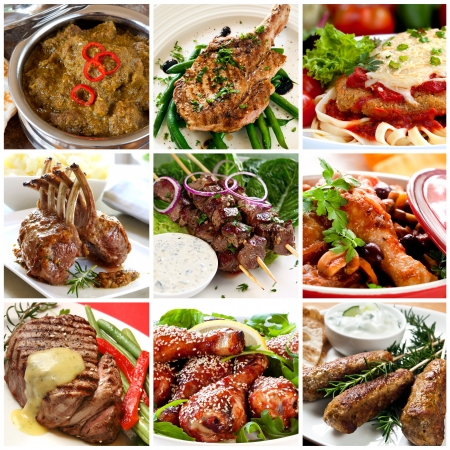 Collection of warm meat dishes.  Includes lamb, pork, chicken and beef dishes. photo