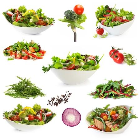 ensalada verde: Colecci�n de ensaladas, aislado en blanco. Incluye ensalada verde, ensalada, ensalada griega, ensalada de pollo, y los ingredientes.