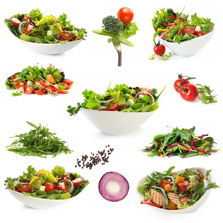 green salad: Collection of salads, isolated on white.  Includes green salad, garden salad, greek salad, chicken salad, and ingredients.