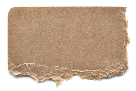 Torn brown cardboard isolated on white with soft shadow.  Ready for your message. photo