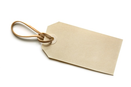 elastic band: Blank shipping tag fastened with elastic band   Isolated on white with soft shadow