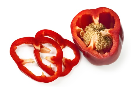Sliced red capsicum or bell pepper, isolated on white background. photo