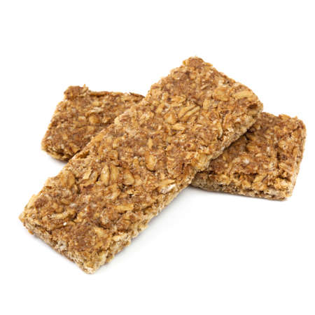 granola bar: Two muesli bars, isolated on white background.  Healthy nutty snacks.