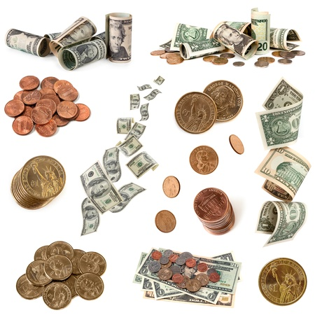 us dollar bill: Collection of American money, isolated on white background.  Includes coins and notes.