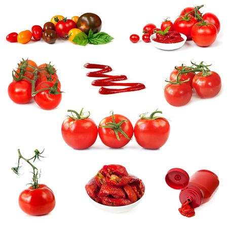 cherry varieties: Collection of tomato images, isolated on white.  Includes vine, cherry, roma, plum, sundried and heirloom varieties, puree and ketchup. Stock Photo