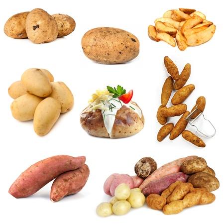 camote: Varias imágenes de patata, aislados en fondo blanco. Incluye crudos y cocidos. Foto de archivo